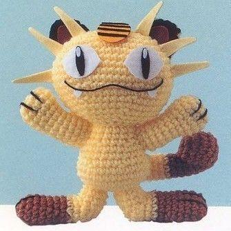 pokemon crochet patterns | Amigurumi Pokemon Pikachu Meowth Cat Animal Doll crochet pattern PLUS ...