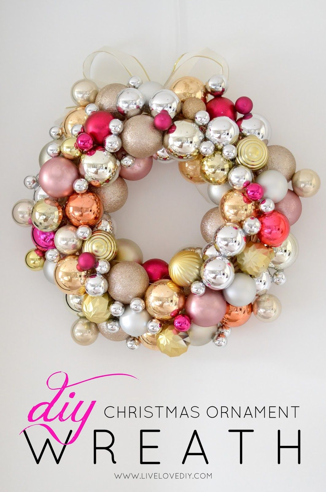 Christmas wreath ornaments - How To Make A Christmas Ornament Wreath