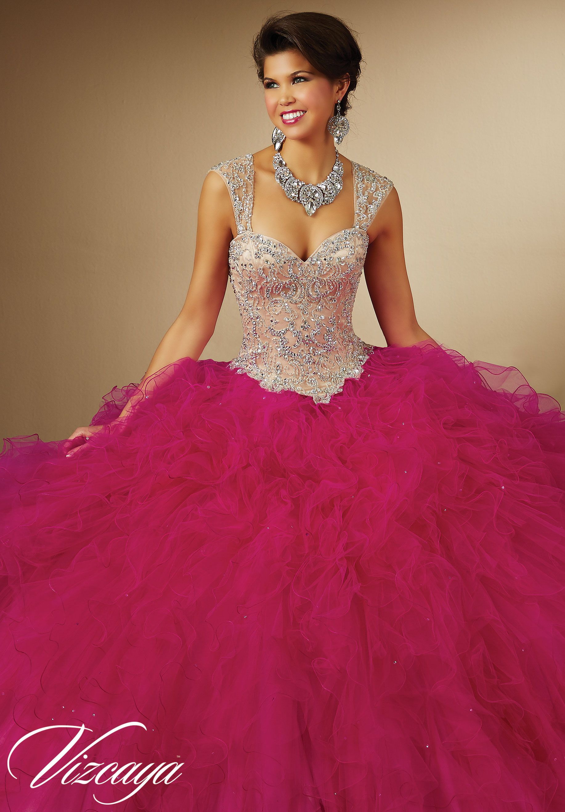 009da55ccd0 Pink Fuchsia Quinceanera Dresses by Vizcaya Morilee designed by Madeline  Gardner. Two-Tone Ruffled Tulle with Beading Princess Ball Gown. Style  89054.