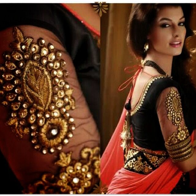 e17f9230cf7567 Black and orange saree with gorgeous blouse. | Dream Indian Outfits ...