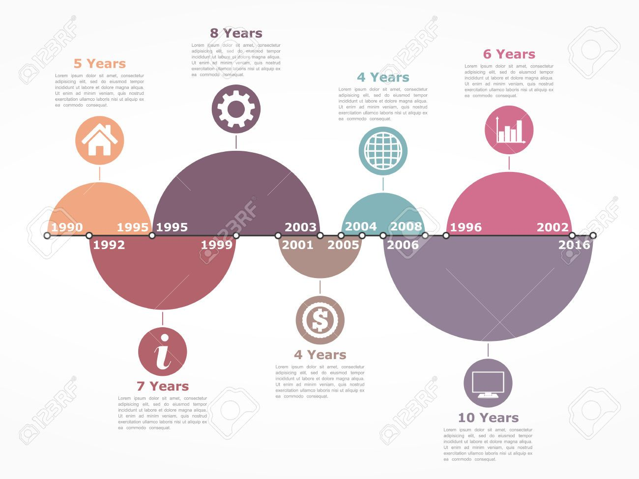 Timeline Infographics Design Template With Circles Representing