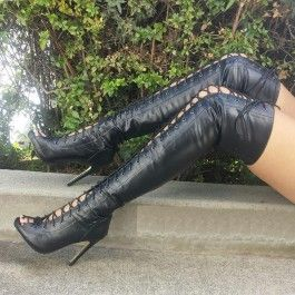 Black Lace Up Thigh High Boots Faux Leather $55.99 | Stuff to Buy ...