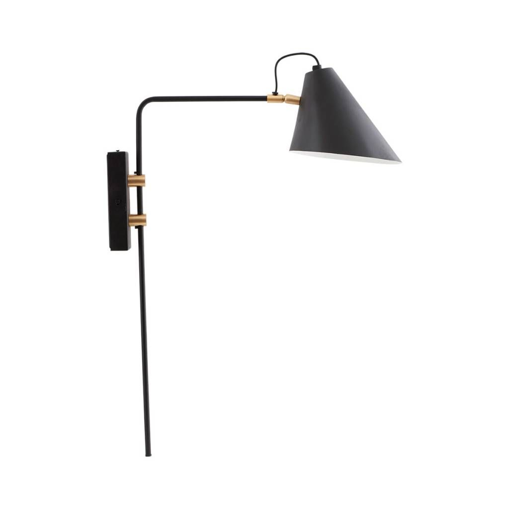 House Doctor Club Wall Lamp Black Metal Brass Black Wall Lamps Wall Lamp Wall Lights