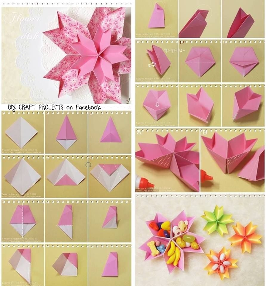 Diy paper flower dish diy tutorial papercraft diy for Art and craft ideas for decoration