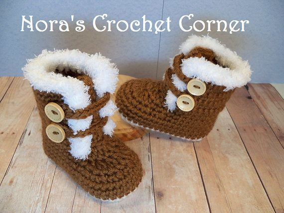 Crochet Baby Boots, Fur Trimmed Snow Boots, Ugg Inspired - 224 on ...