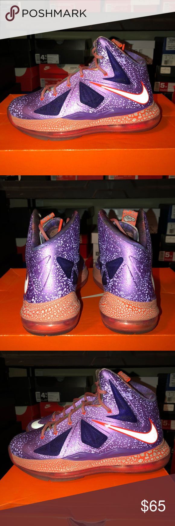 """4c514cac399 Nike Lebron X """"All Star Game"""" (ASG) size 5 GS Gradeschool size 5 9 10  condition Worn once to class Nike Shoes Sneakers"""