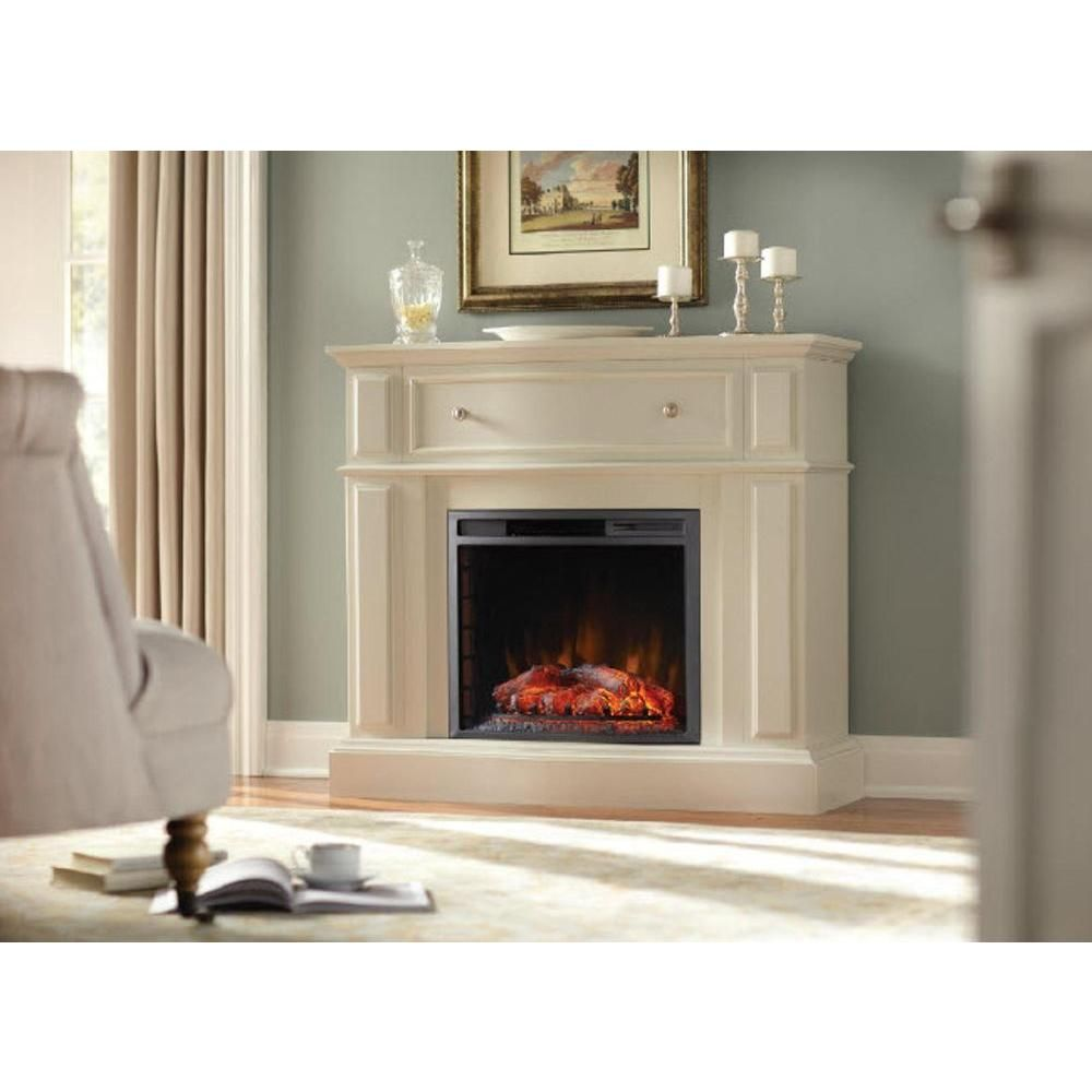Home Decorators Collection Ludlow 44 In Media Console Electric Fireplace In Bleached Linen 248 85 80 Y At Home Family Room Makeover Home Decorators Collection