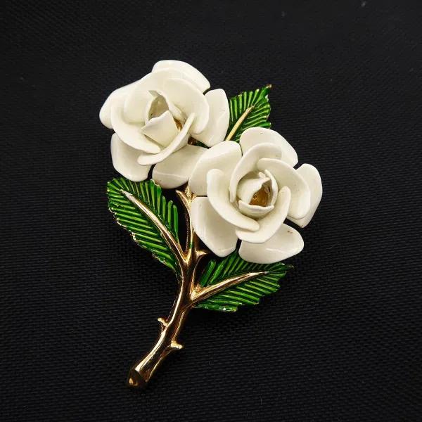 Crown Trifari Long Stem White Rose Brooch with Green Enamel Stem