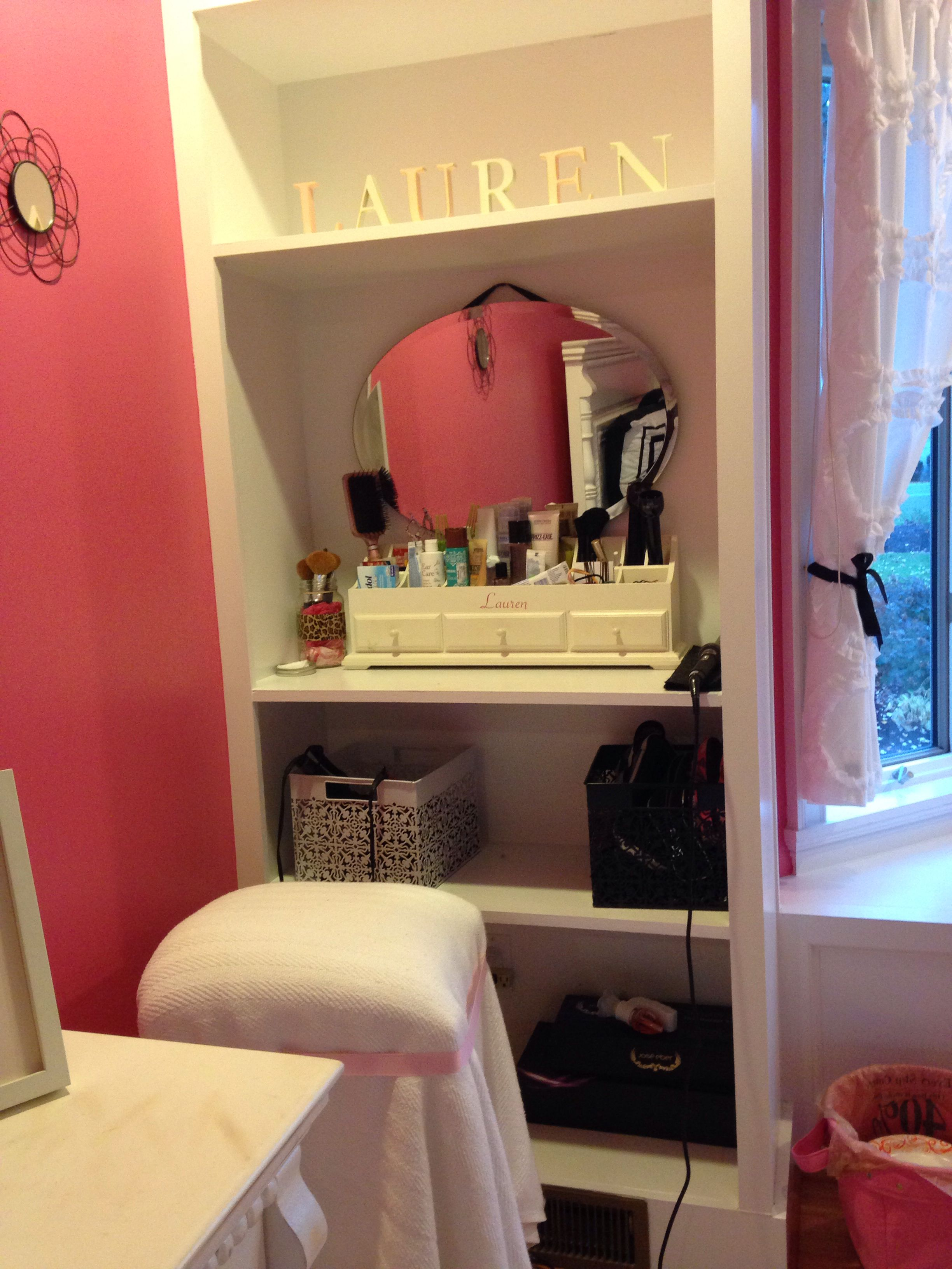 Diy Vanity Built In Bookshelf, Hanging Mirror, Ribbon, Organizer, Hammer,