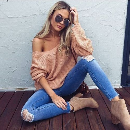 off-shoulder-knit-blush-sweater | Trendy | Pinterest | Best ...
