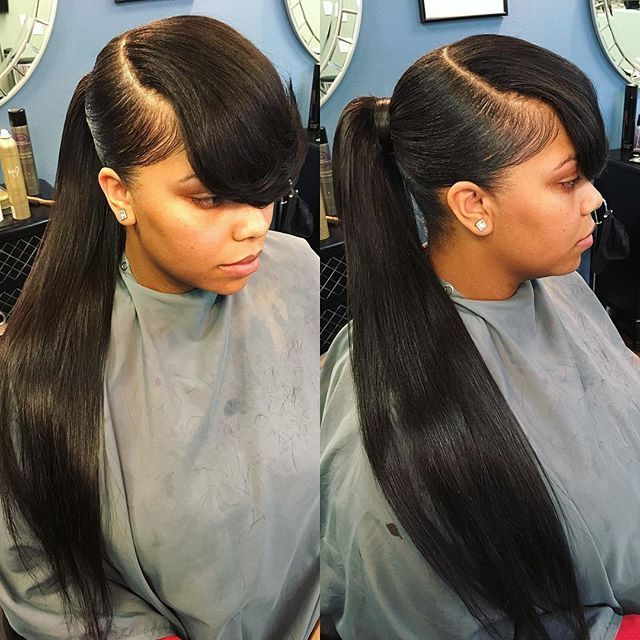 Easy Lazy Weave Ponytail Styles With Bangs Long Ponytail Hairstyles Black Ponytail Hairstyles Weave Ponytail Hairstyles