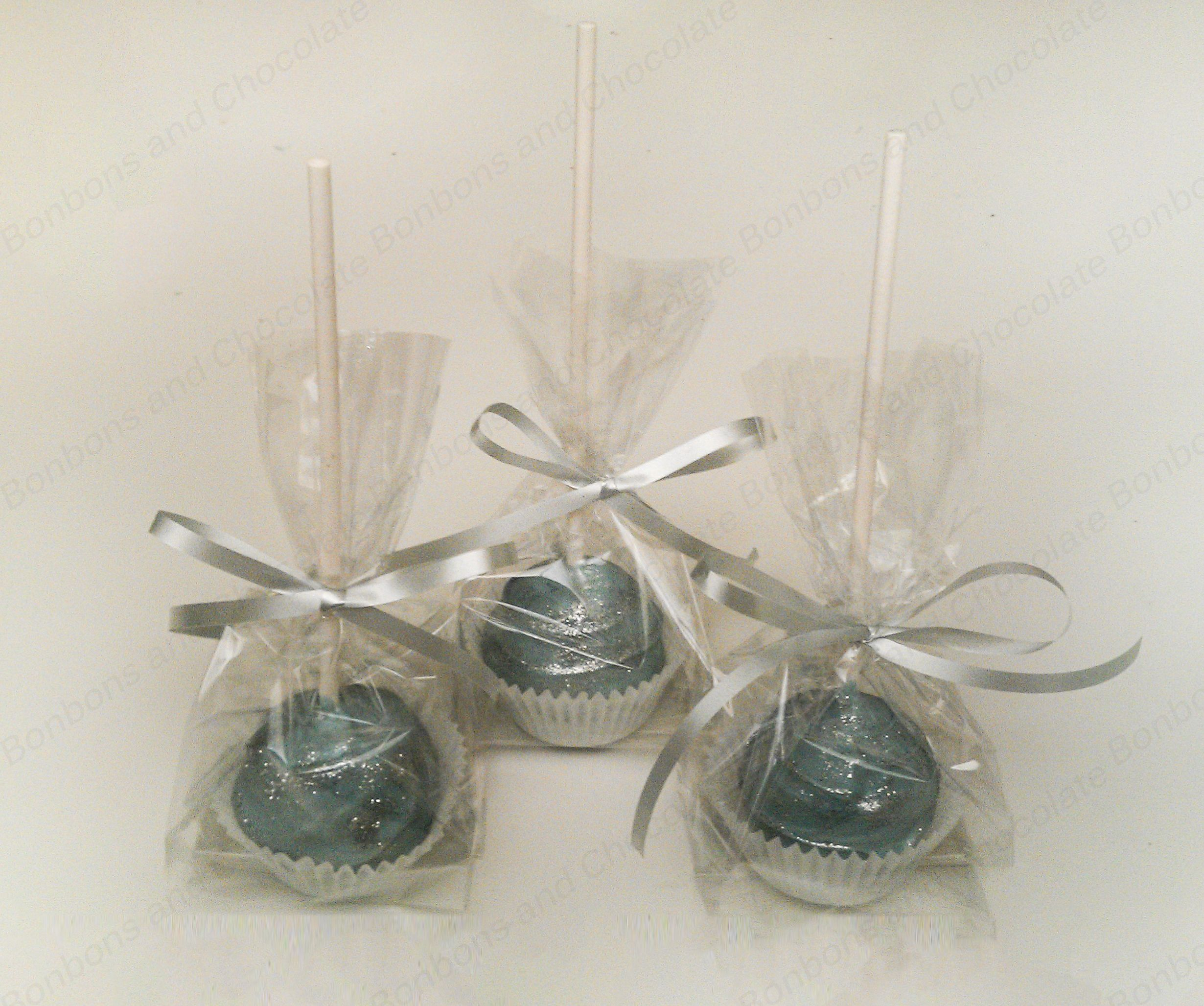 Colores white chocolate cake pops individual wrapping   Baby Boy ...