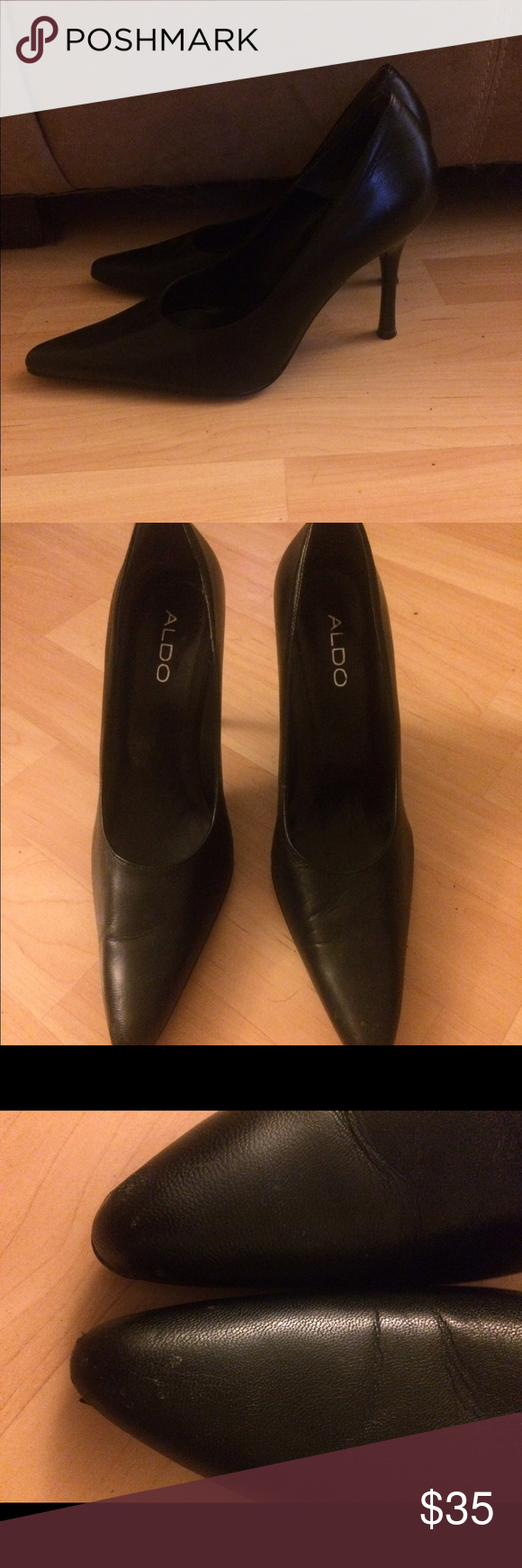 Aldo stiletto heels Fierce Aldo stiletto heels! 4 inch skinny heel, pointed toe. Rarely worn- only imperfections are slight peeling and fading at toes, not noticeable unless up close and some scuffs on the bottom. All black. Leather upper and man made sole. Size 39/9 but a tight fit. ALDO Shoes Heels