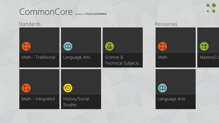 Common Core Standards App for Windows 8 Common core