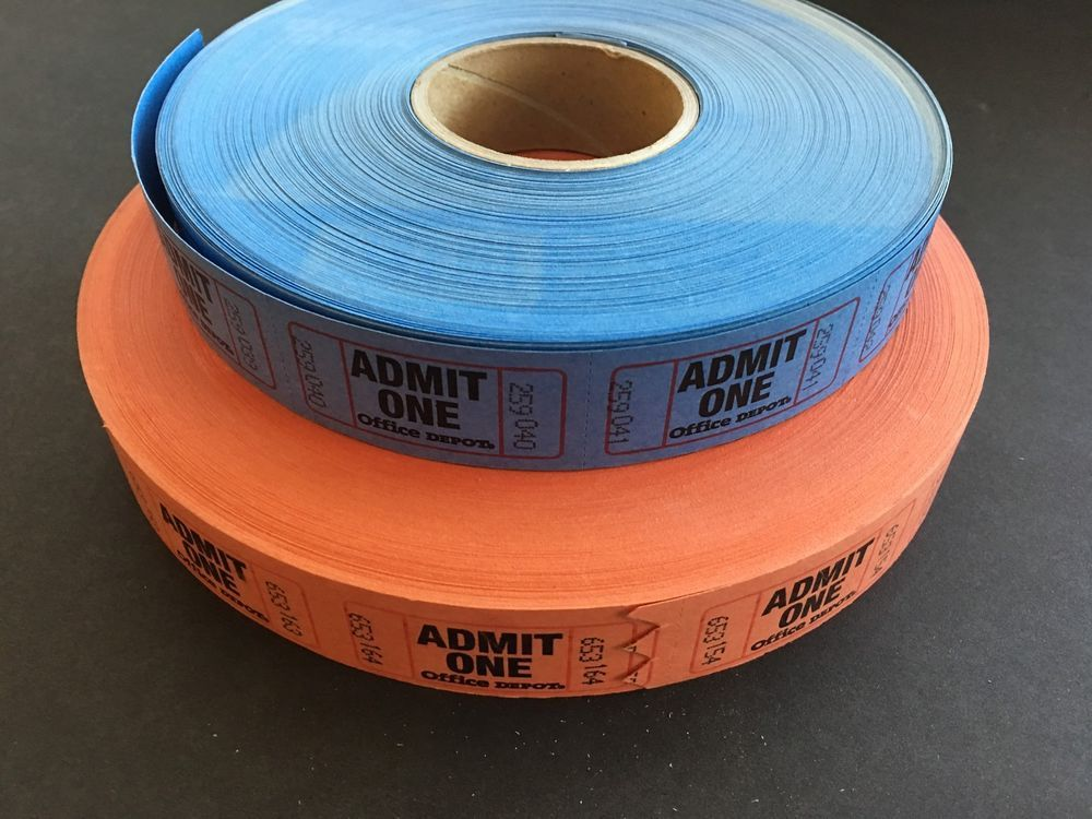 Admit One Ticket Rolls Office Depot 2000 + Tickets Orange