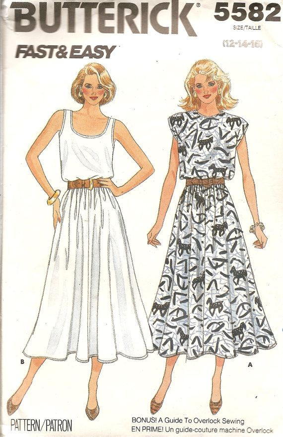 Vintage Sewing Pattern Pullover Dress 1980s Butterick 5582 FREE ...
