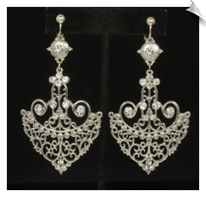 Silvertone Filigree Dangle Clip On Earrings Accented With Rhinestones