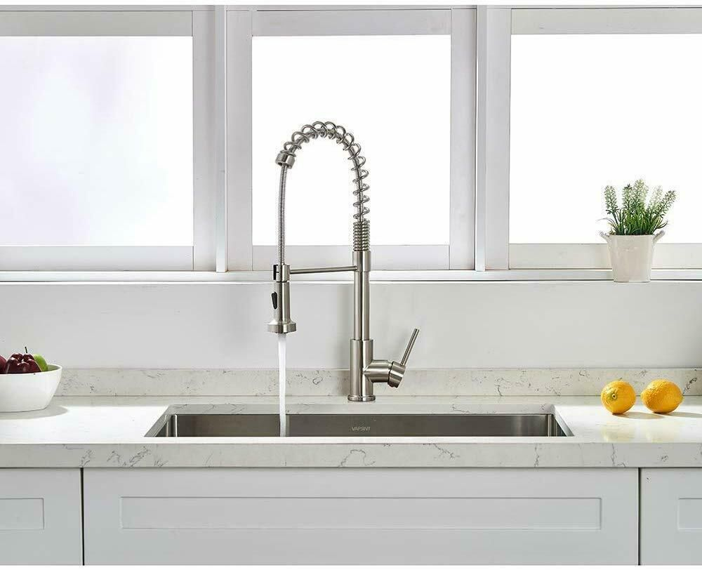 Kitchen Sink Faucet Single Handle Pull Down Sprayer Brushed Nickel