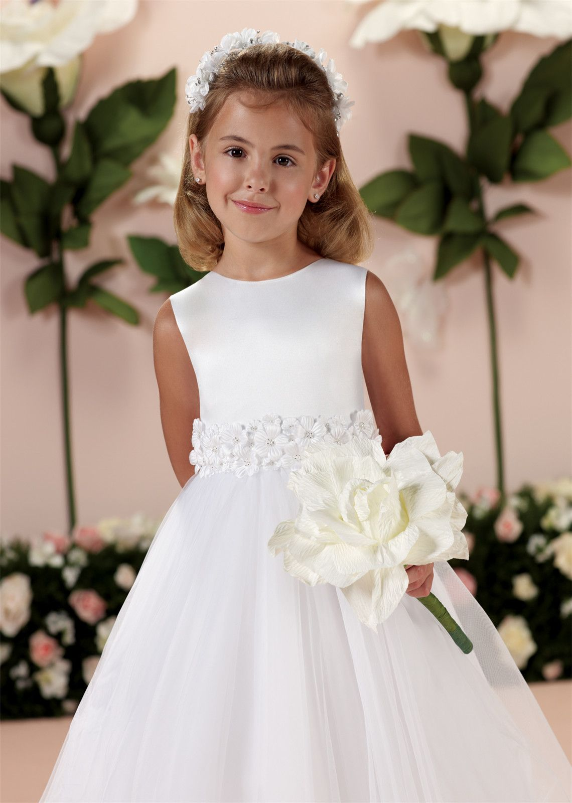Satin Tulle Tea Length Wedding Flower Girl Dress with