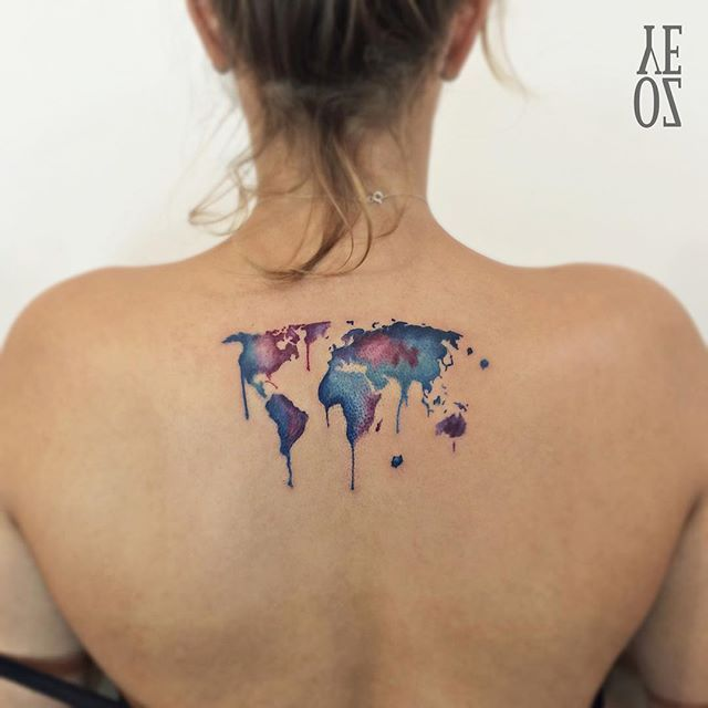 Old World Map Back Tattoo. Pin for Later  These 61 Map Tattoos Will Give You Major Wanderlust Watercolour World Back Tattoo Watercolor and tattoos