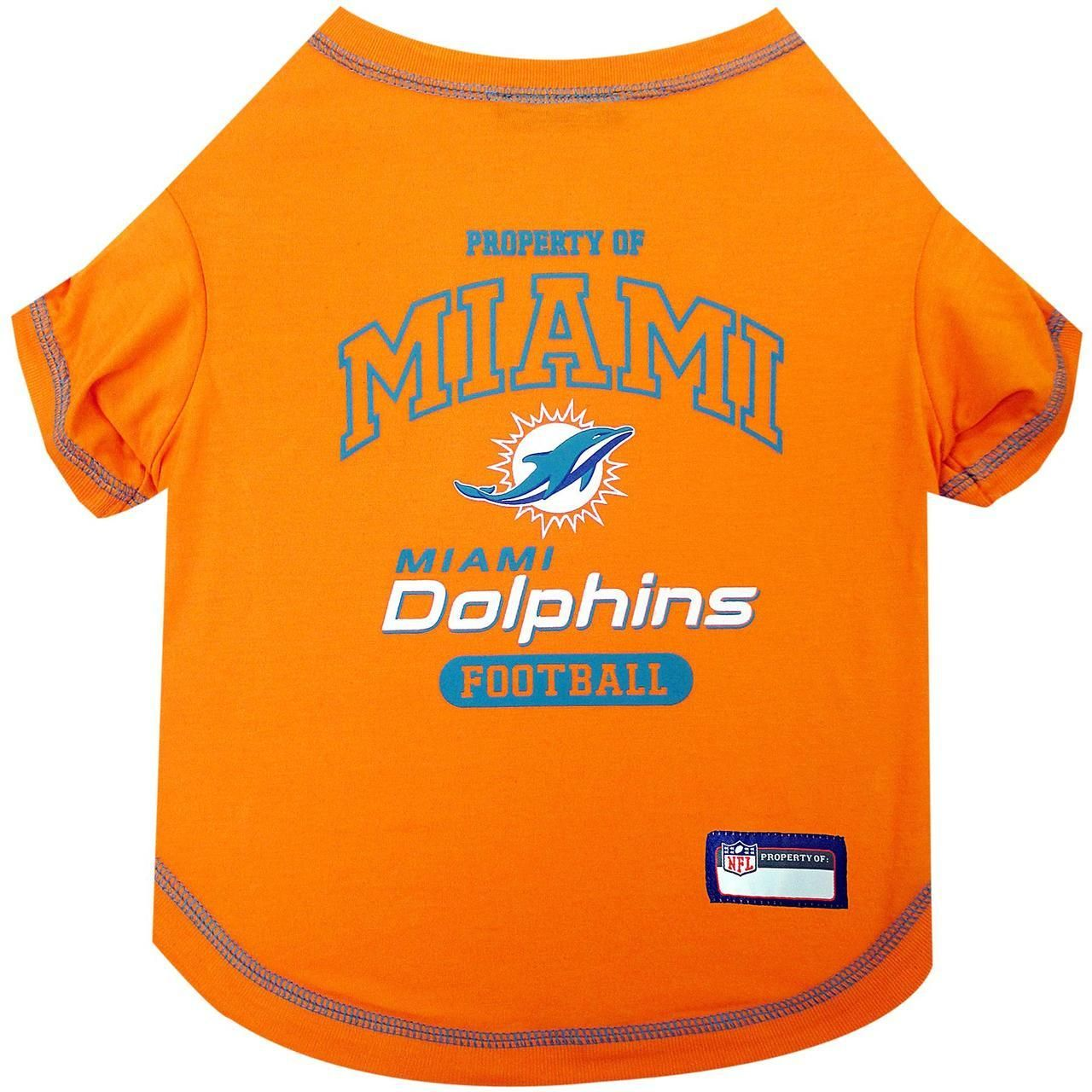 Get your pet into the game with this officially licensed NFL pet t-shirt!  Designed with the Miami Dolphins team colors and logo ba987e70e
