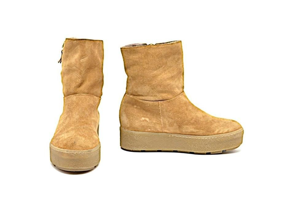 40e79b2c045 VIC MATIE Cognac Suede Platform Ankle Boots with Shearling Lining Sz 36   VicMatie  AnkleBoots