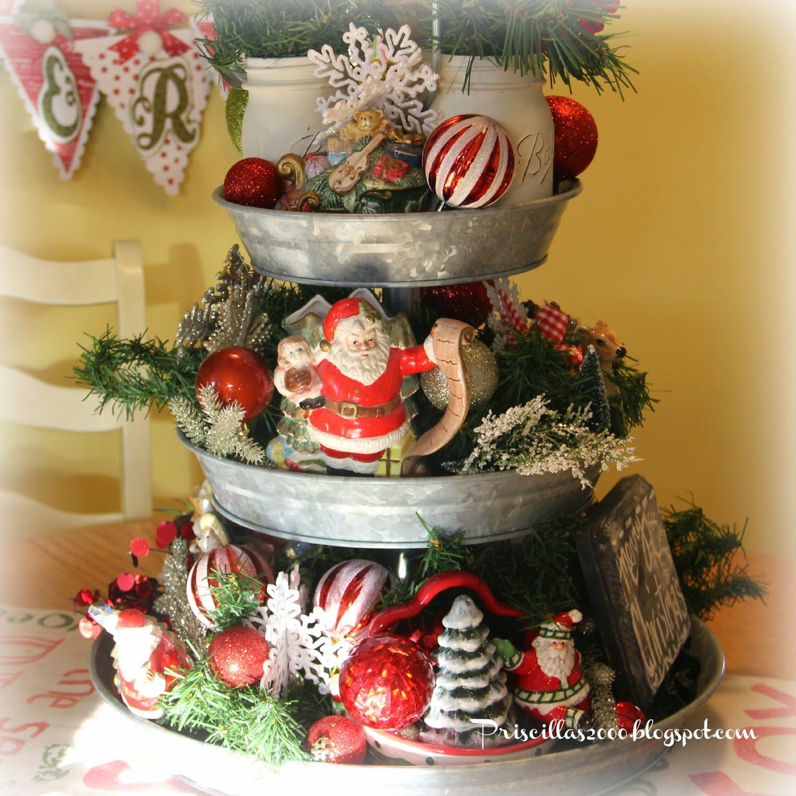 Kitchen Table Decorations For Christmas: A Year Of The Galvanized Tiered Tray