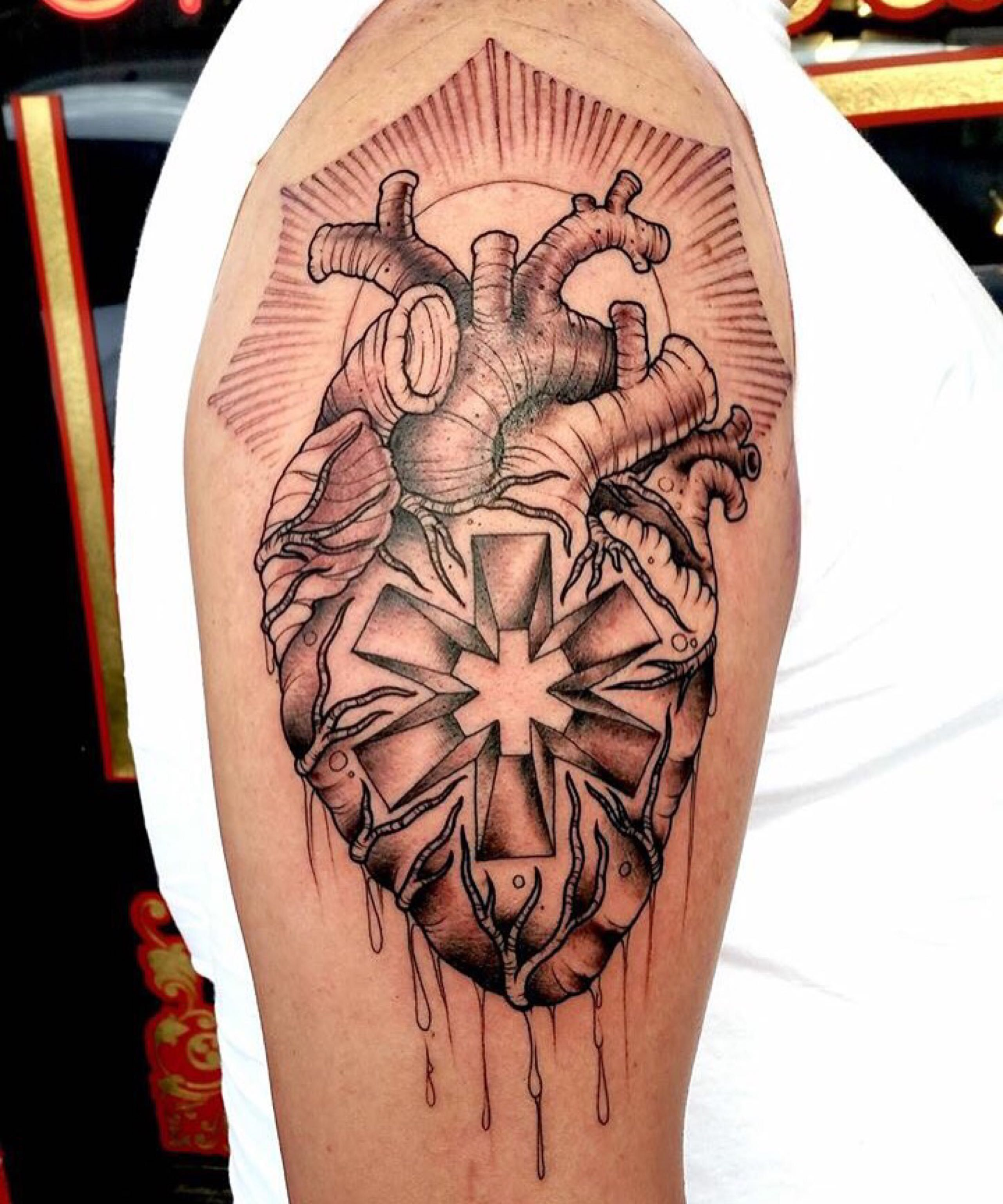 Star Of Life Tatoo: Star Of Life Tattoos Anatomical Heart With The Star Of