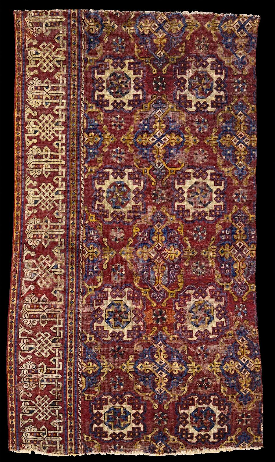 East Berlin Museum Holbein carpet  Small pattern Holbein carpet, XV-XVI centuries, Ottoman Empire, Western Turkey. East Berlin Museum. inv. nr. I 6737. formerly in the Municipal Collection, Düsseldorf.