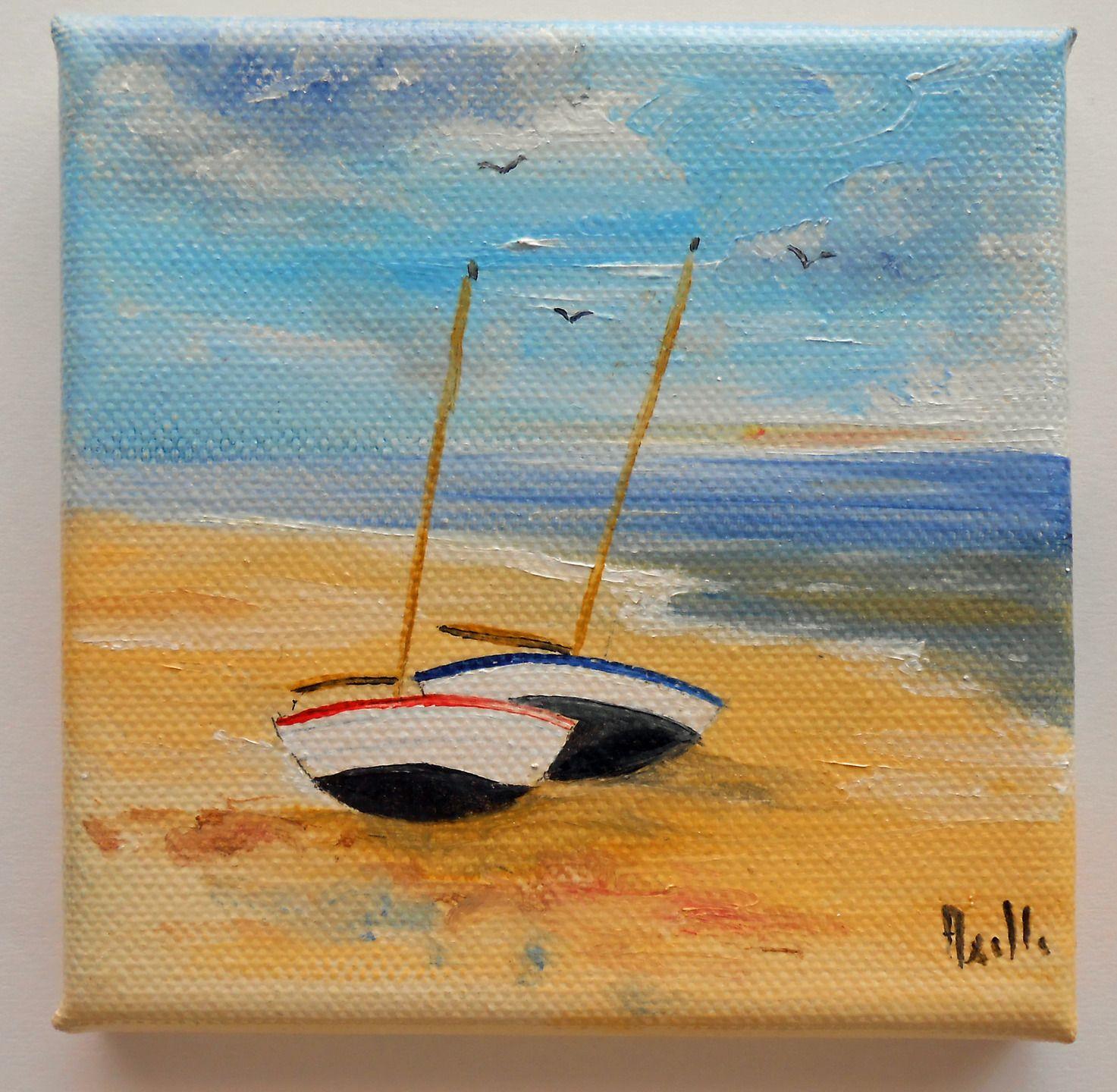 Tableau petit prix de voiliers échoués sur une plage @tableaux-petits-prix : Peintures par petits-tableaux-cartes