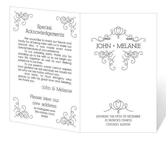 INSTANT DOWNLOAD - Wedding Program Template - Whimsical Winter - program templates word