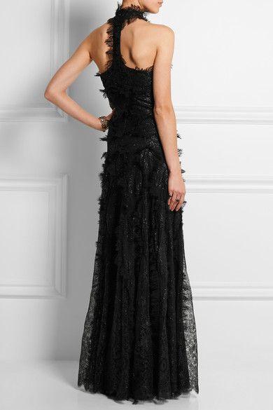 Alexander McQueen | Halterneck metallic lace gown | NET-A-PORTER.COM