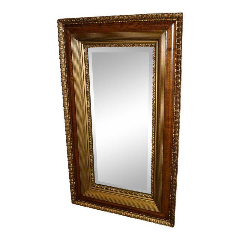 Antique Traditional Style Oak Gold Rectangular Wall Mirror