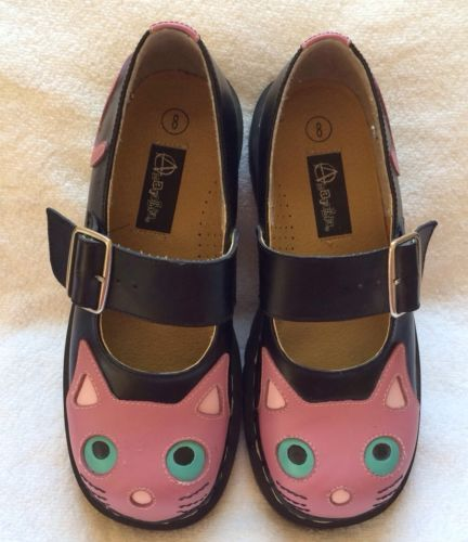 Womens Anarchic Shoes Tuk Pink Black Kitty Cat Mary Janes Size 8 Rare Ebay Black Pink Shoes Mary Janes
