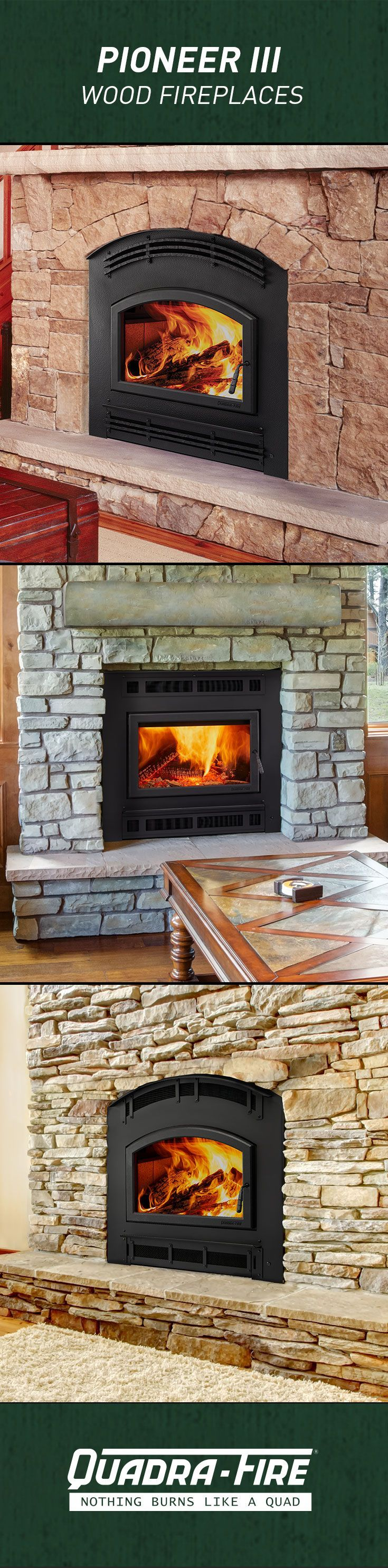 The Pioneer Iii Is The Largest And Most Powerful Wood Fireplace Produced By Quadra Fire Powered By Our Wood Fireplace Wood Burning Fireplace Inserts Fireplace