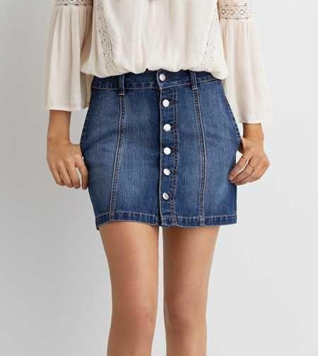 AEO Button Down Denim Skirt | Fash Bash | Pinterest | Denim skirt ...