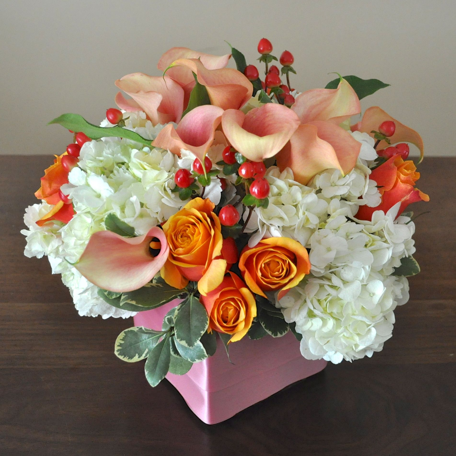 """Happy retirement"" flower arrangement for her mom. Fresh"