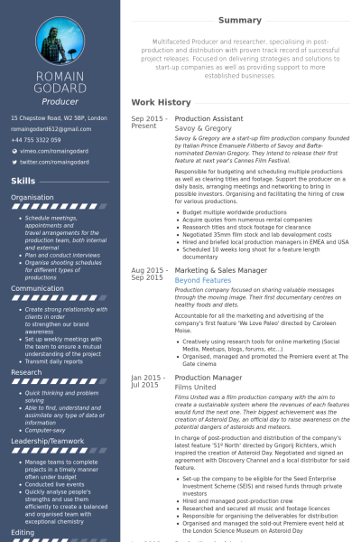 Production Assistant Resume Example  Job Materials Examples