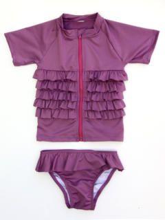 SwimZip Little Girl Rash Guard Swimwear Set Ruffle Me Pretty