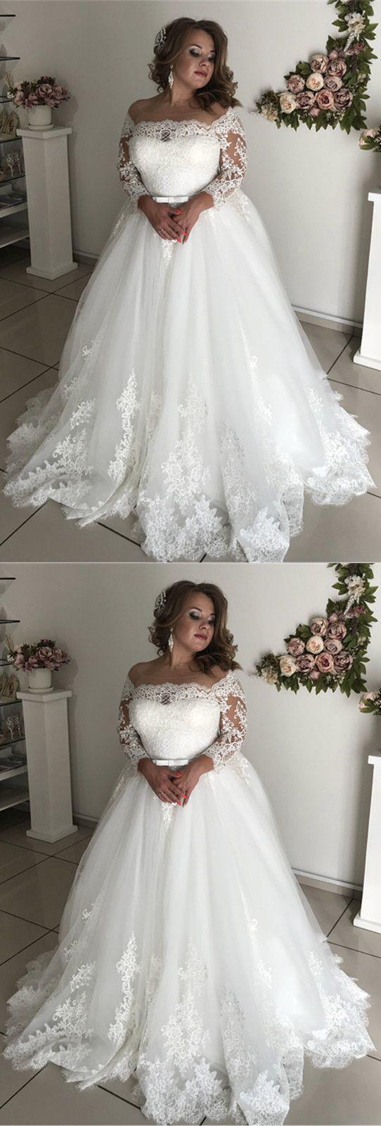 A-line Illusion Spitze mit langen Ärmeln Tüll Brautkleider plus Größe