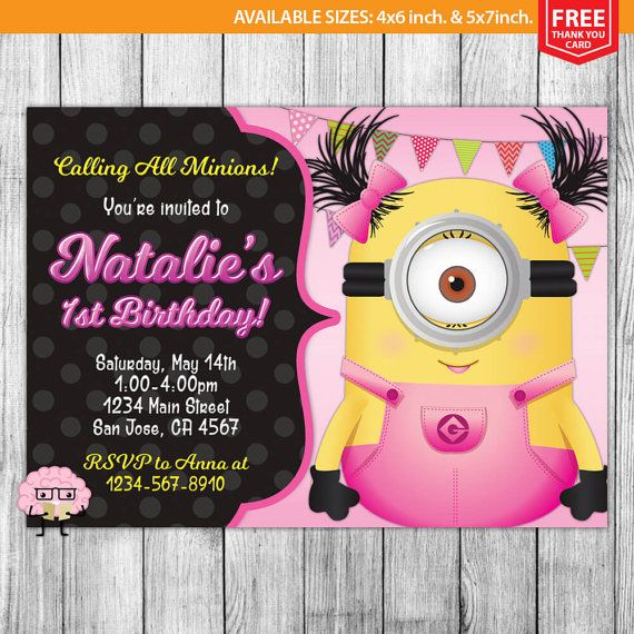 Hey, I found this really awesome Etsy listing at https://www.etsy.com/listing/455350820/girl-minion-invitation-girl-minion