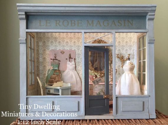 Miniature Children S Bedroom Room Box Diorama: French Dollhouse Room Box, Miniature Dress Shop, Diorama