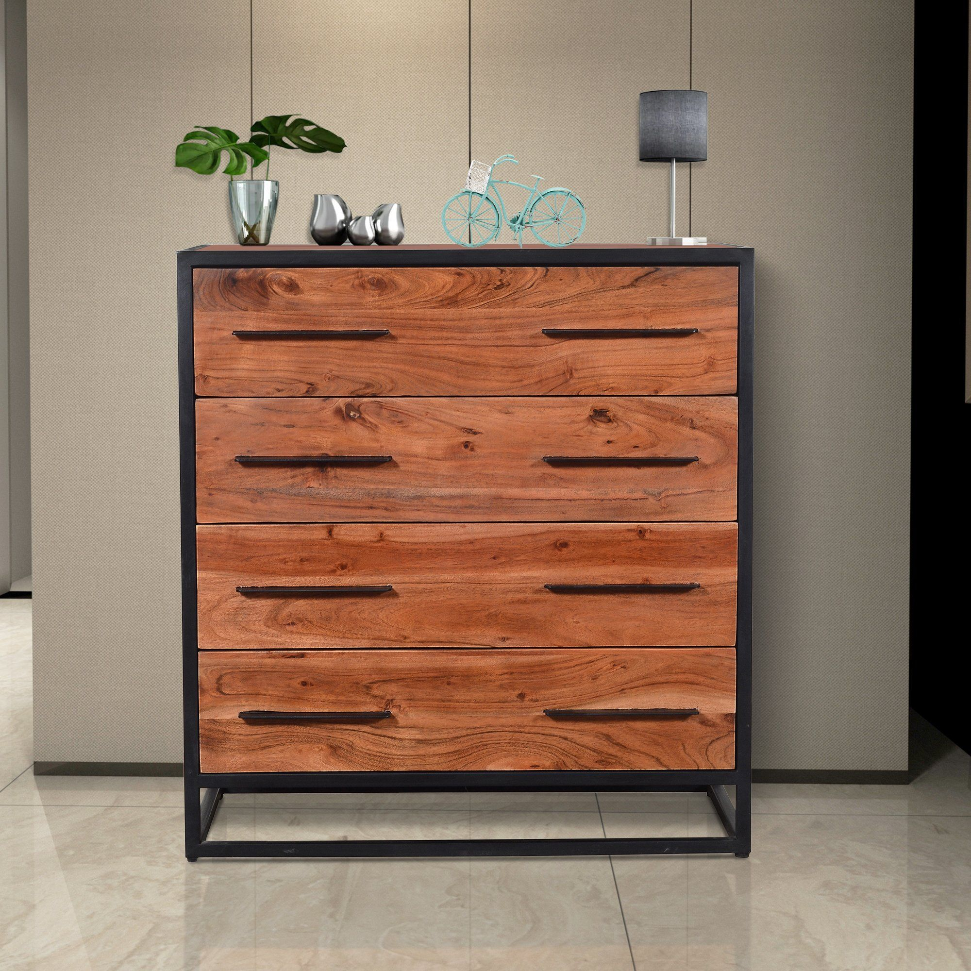 Handmade Dresser With Live Edge Design 4 Drawers Brown And Black Upt 197872 Handmade Dressers Rustic Dresser Live Edge Design [ 2000 x 2000 Pixel ]