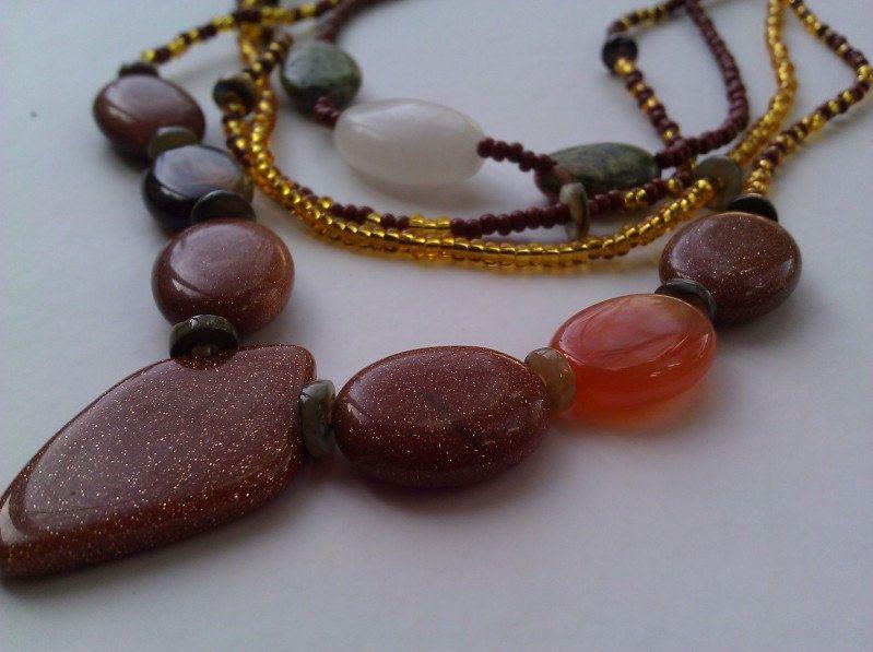 Multi-strand amber glass necklace. $40.00, via Etsy.