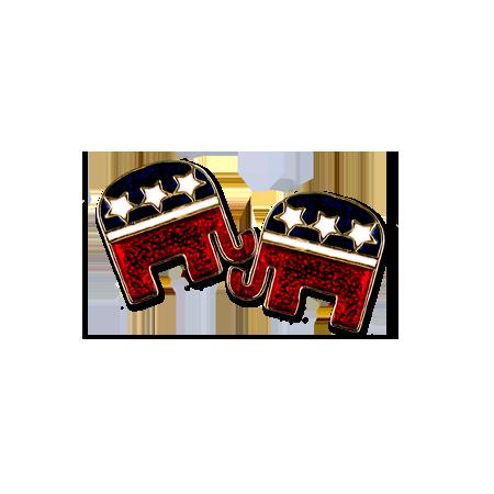 Enamel Republican Logo Earrings Patriotic Jewelry Earrings Elephant Logo