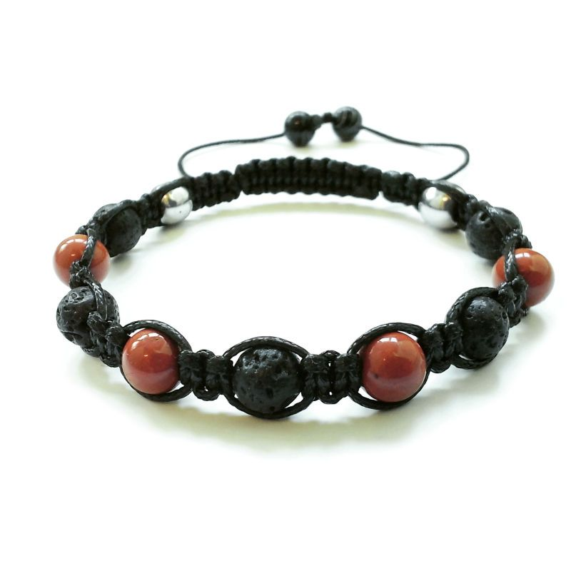 men's shamballa beaded bracelet handmade jewelry gift stone LAVA&RED JASPER #Handmade #Shamballa #FormalandCasual