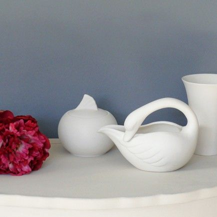 Swan Sugar Bowl and Creamer Set - available from MiaFleur