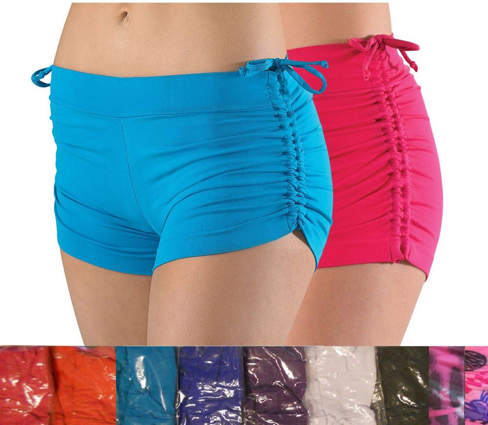 Womens Dance Yoga Short Adjustable Scrunch Side Tie