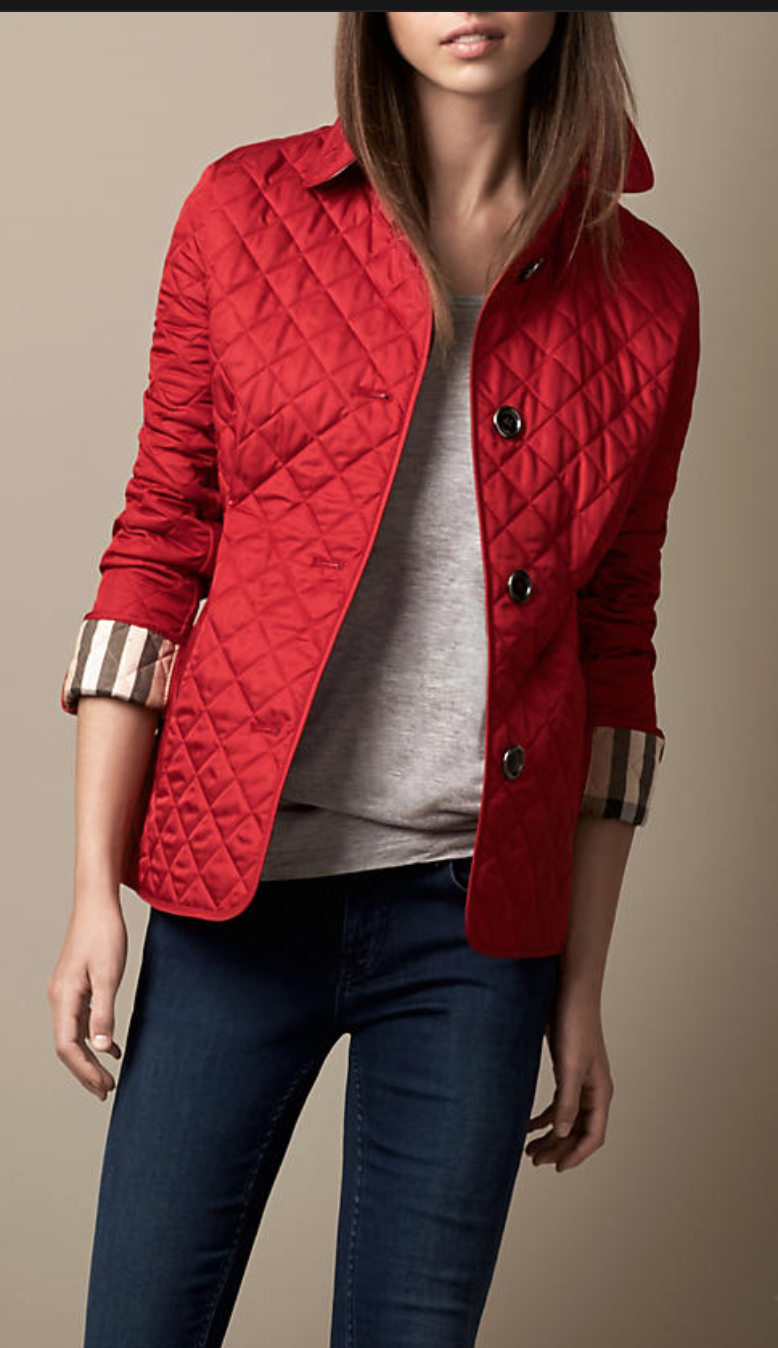 Women's Clothing | Diamond quilt, Quilted jacket and Diamond : red burberry quilted jacket - Adamdwight.com