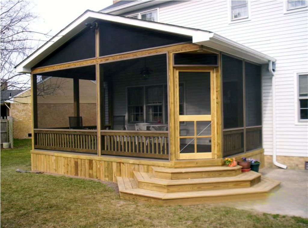 Screened in back porch ideas porch designs easy for Small enclosed deck ideas